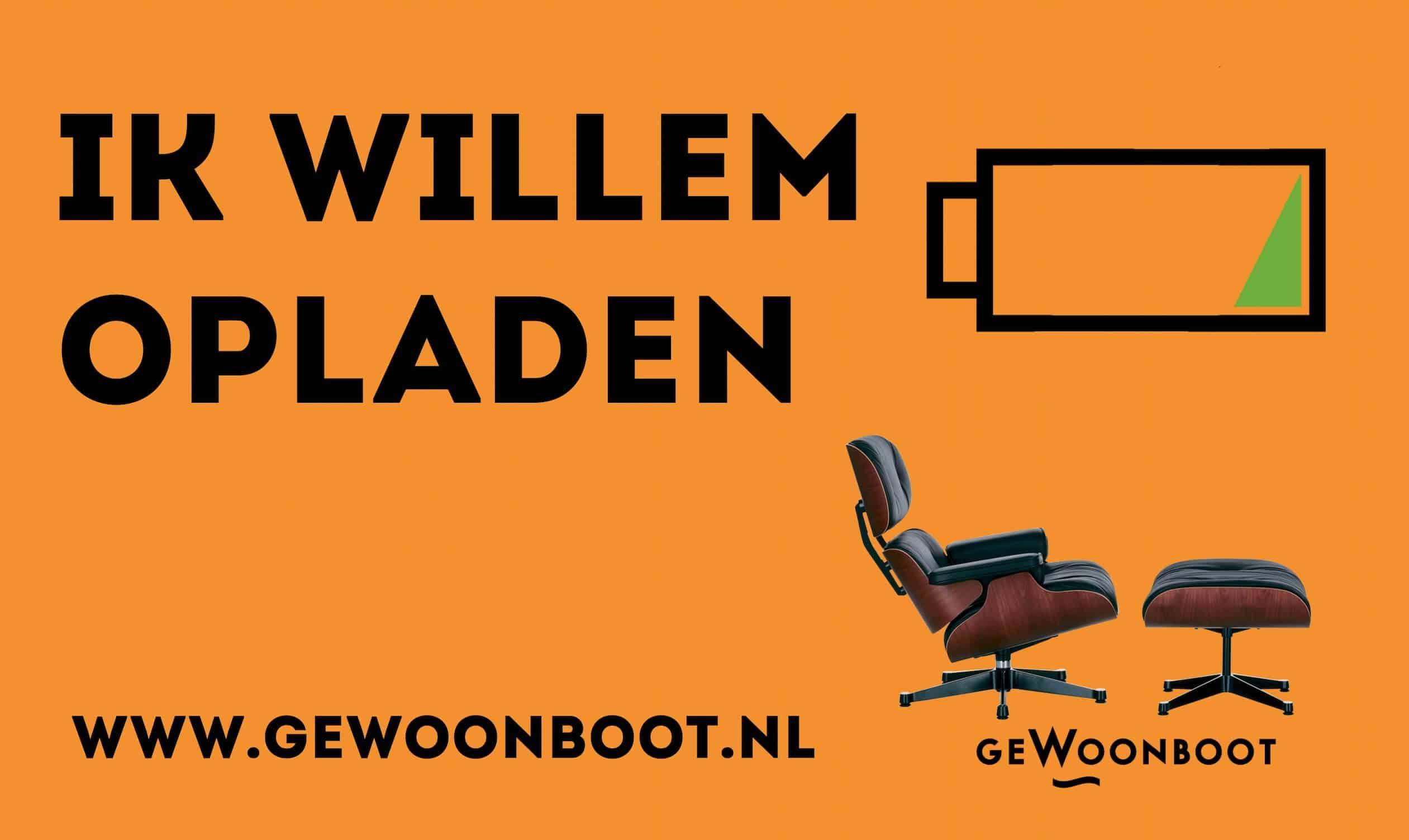 """geWoonboot oplaadpunt tijdens NDSM Koningsdag """"Ik Willem"""""""