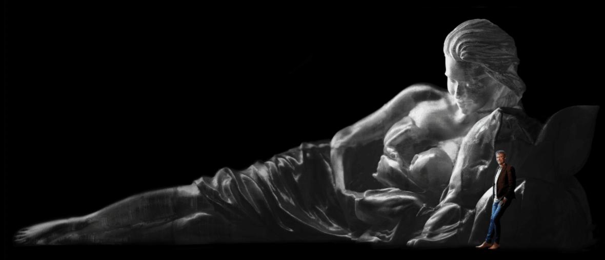 Plastic Madonna van zwerfafval van 12 meter lang