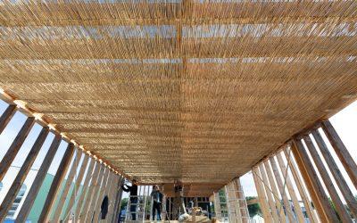 Fotoverslag bouw geWoonboot 2: rietmatten